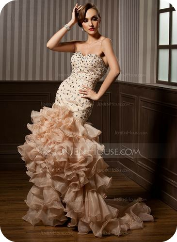 Mermaid Sweetheart Asymmetrical Organza Satin Prom Dress With Beading