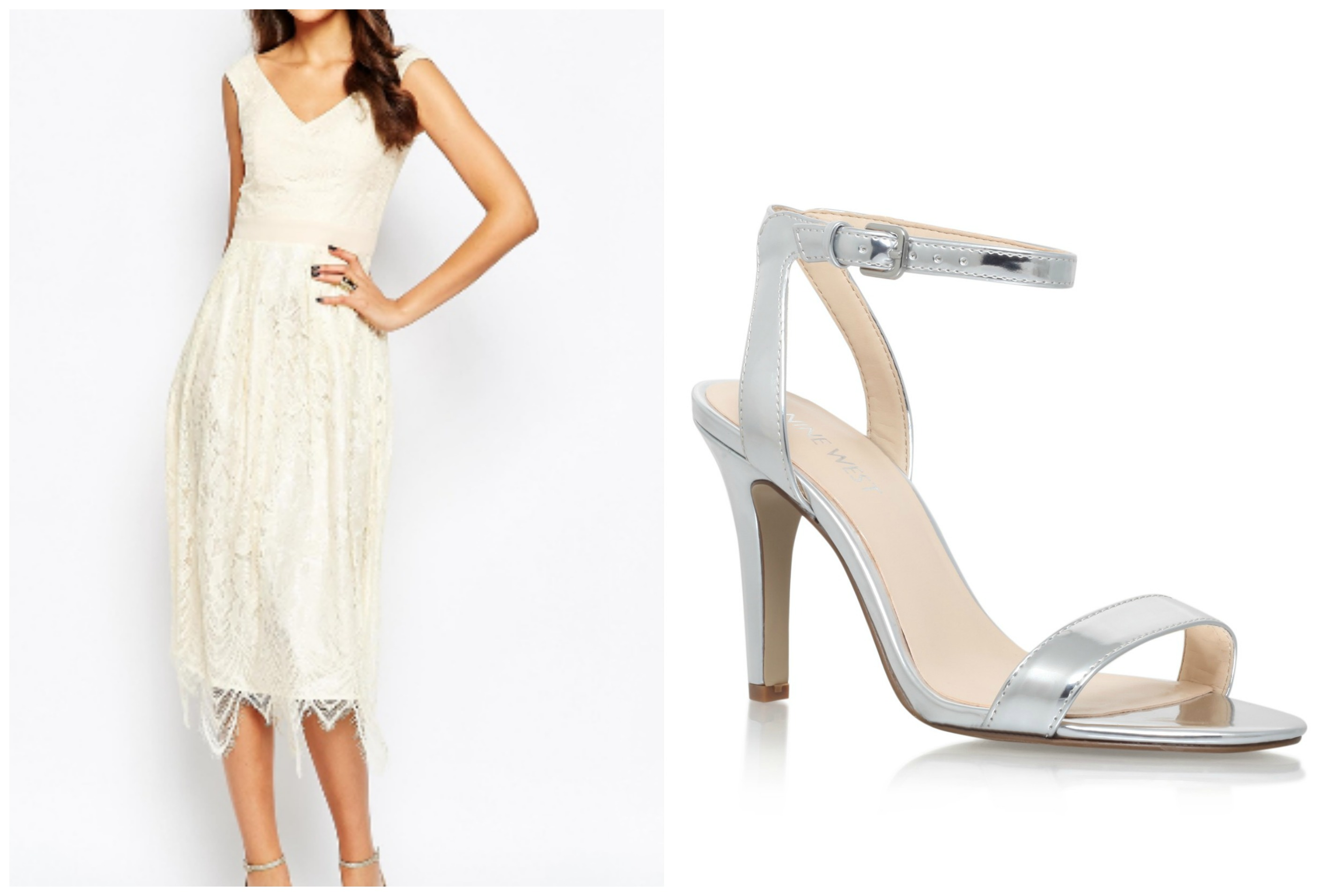 ASOS Tall range cocktail dress with Aniston heels suitable for a charity ball