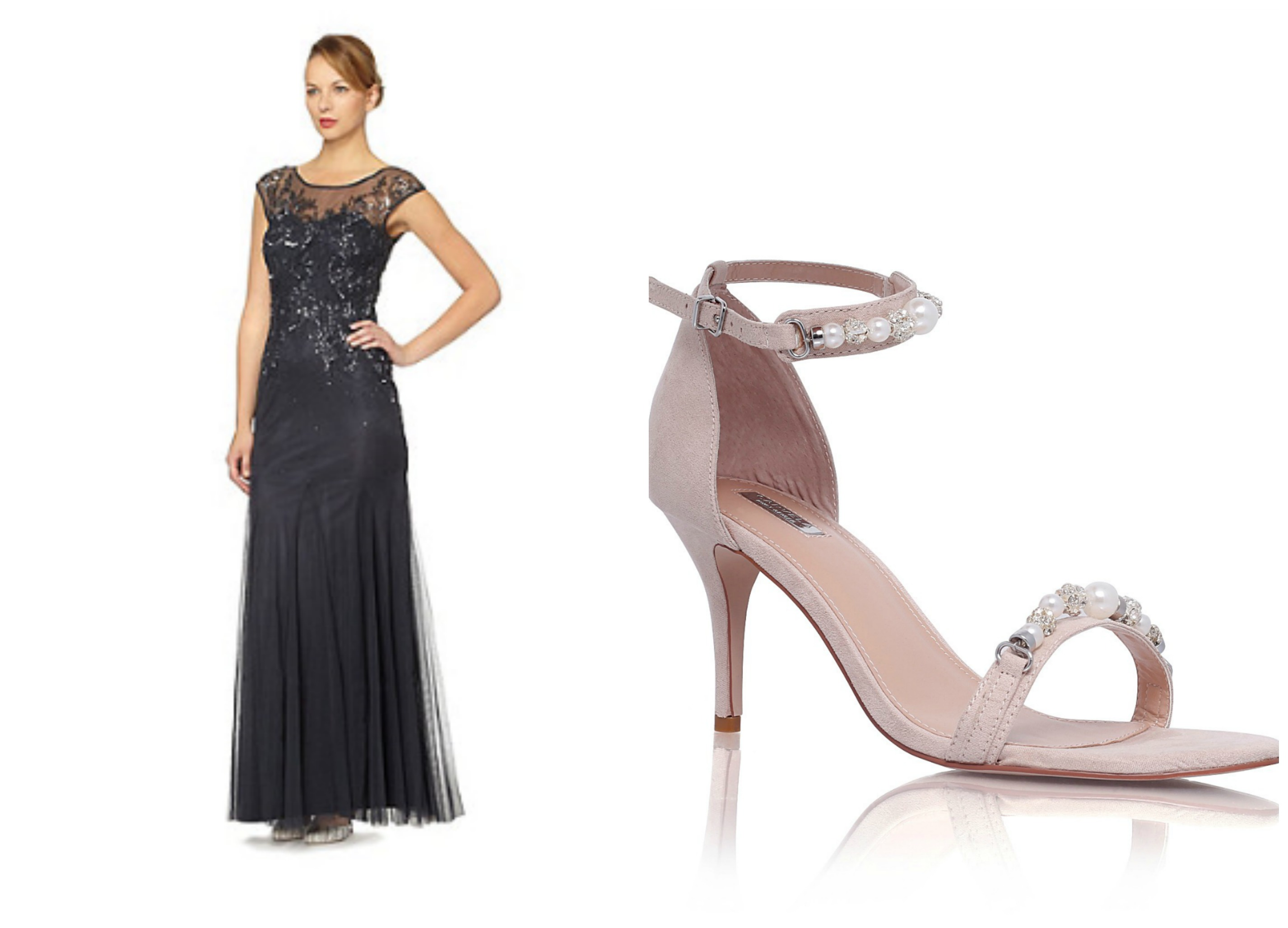 Jenny Packham ball gown with Carvela shoes suitable for a charity ball