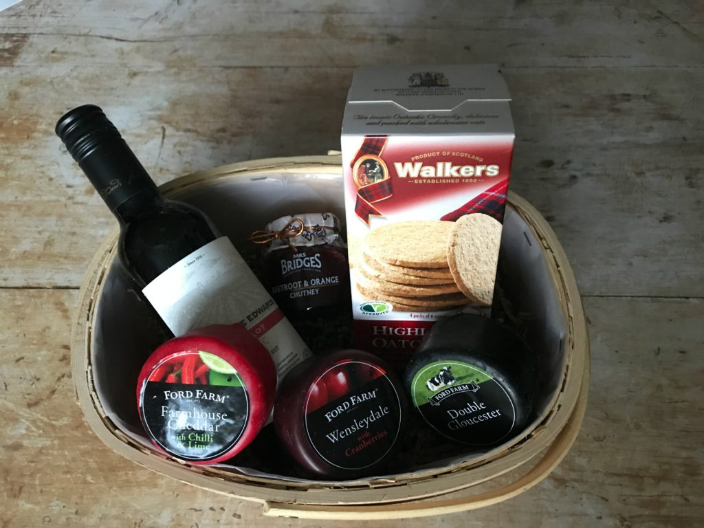 Cheese and wine basket image